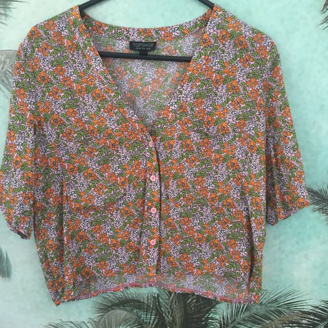 Topshop button up crop shirt