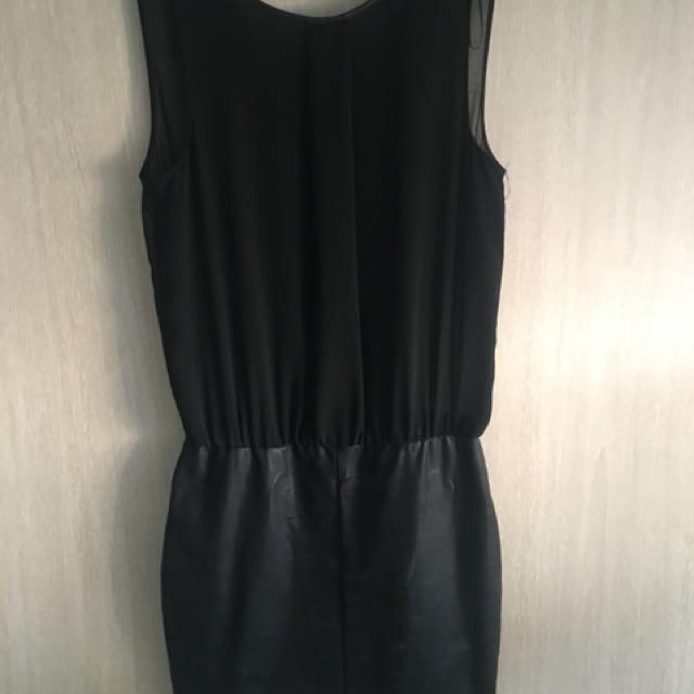 Trafaluc by Zara, black leather and chiffon dress size S