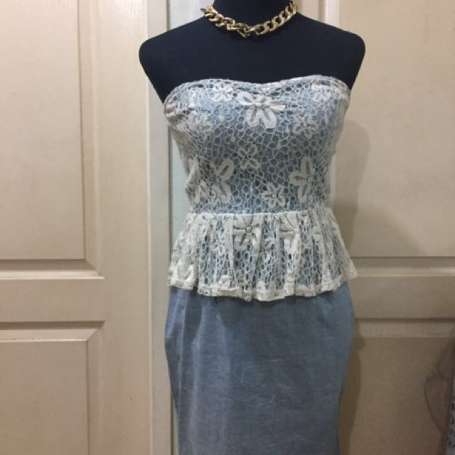 tube lace top soft denim bottom dress m