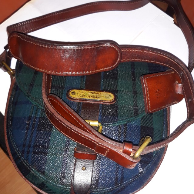 2354bb980e34 Vintage POLO RALPH LAUREN green plaid flap shoulder crossbody bag ...
