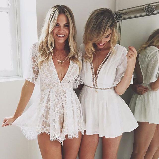 White lace v jumpsuit