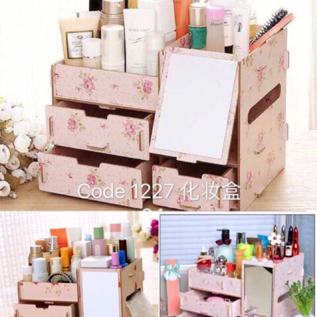 Woden make up organizer with mirror
