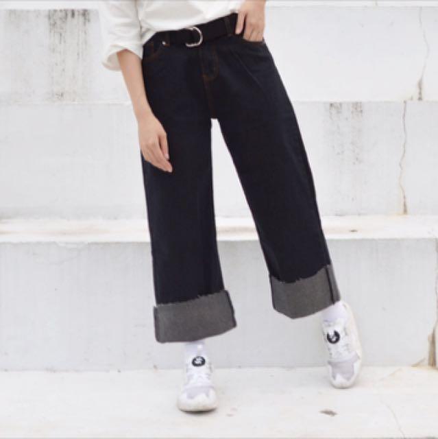 (私物)yearn to大反摺丹寧牛仔黑色長褲S
