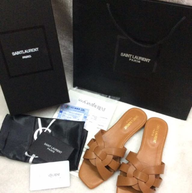 324e4a8aa609 Ysl flats sandals on Carousell