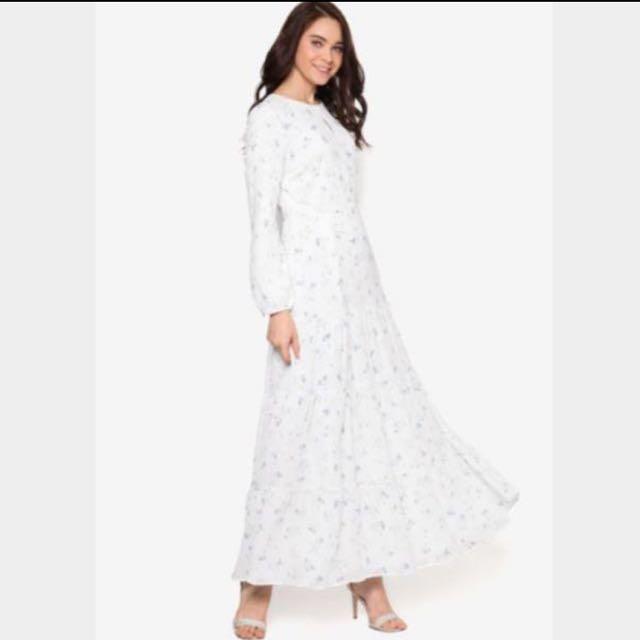 Zalia Off White Blue Floral Tiered Maxi Dress