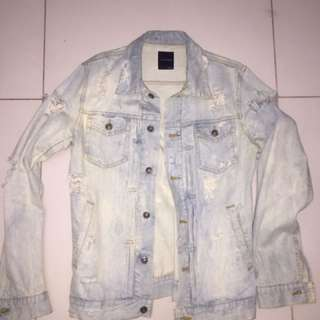 Acid Washed Denim Jacket (Ripped)