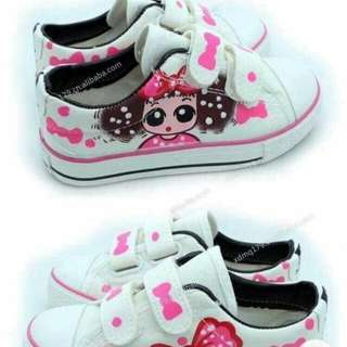 Ribbon print kids shoes