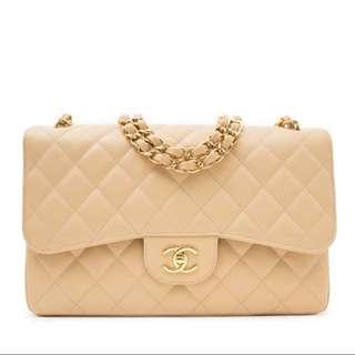 Chanel Classic Flap Handbag Beige Gold Chain