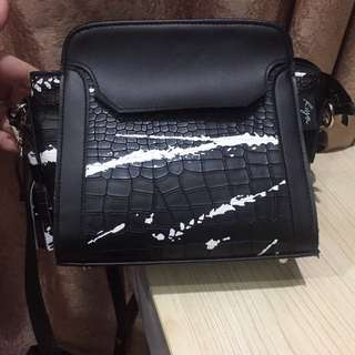Black White Croco Satchel Bag