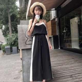 🚚 夏季簡約無袖背心+寬鬆顯瘦高腰闊腿褲套裝