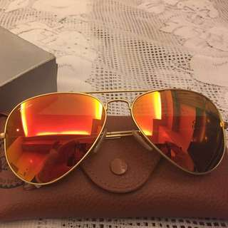 Authentic Bnew Ray-Ban Flash Lens Aviator Shades (58mm)