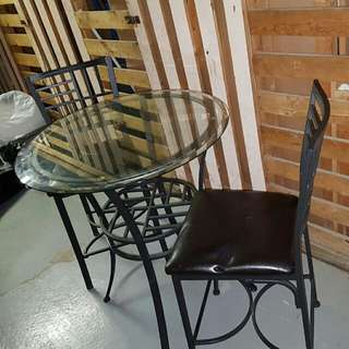 Glass Top Table Set for Sale