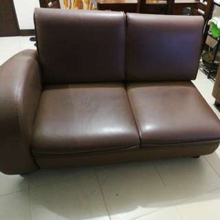 Mandaue foam L shaped sofa brown
