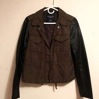 Military Green With Leather Sleeves Jacket