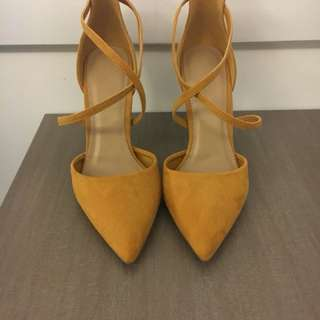 Yellow almond toe double strap heels