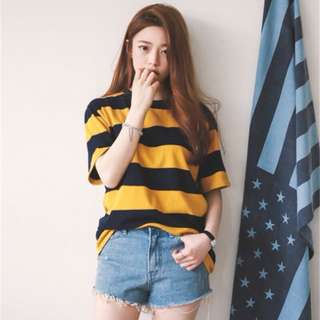 yellow and black striped top