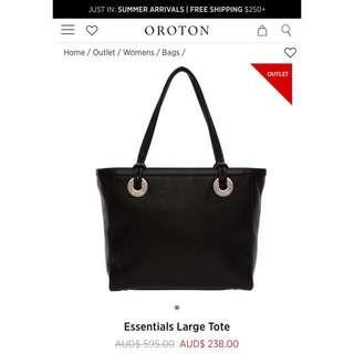 Oroton Essentials Black Tote