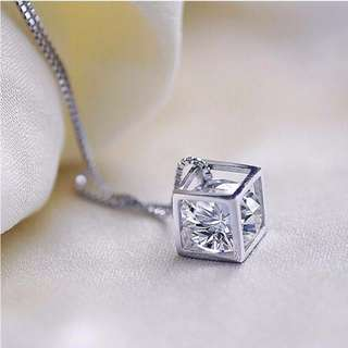 Cube with gem Necklace 925 silver