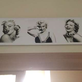 Marilyn Munro canvas with attached necklaces