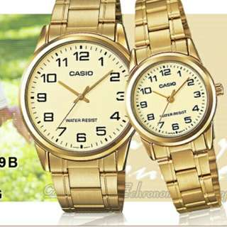👫👬👬6折全新行貨卡西歐防水情侣行针鋼錶-40% Off Brand New Original Casio Water Resistance Sweetheart Analog Metal Watch