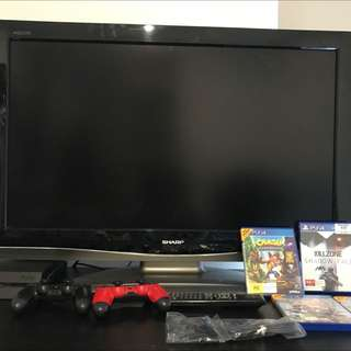 500gb PS4 with 2 Controller, 4 Games and TV with Remote