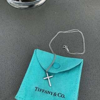 Tiffany & Co. Diamond White Gold Metro Cross Pendant Necklace