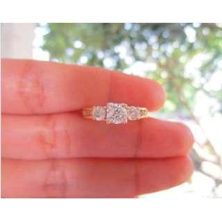 1.05 Carat Diamond Twotone Gold Engagement Ring 14k