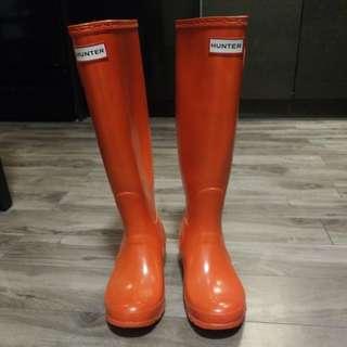 Hunter boots gloss orange