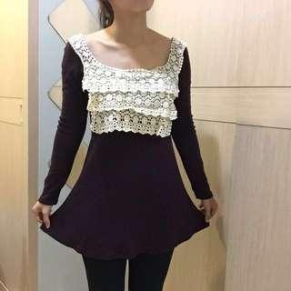 深紫色蕾絲洋裝 #洋裝特賣