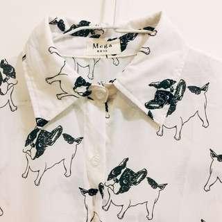 長版黑白狗圖樣雪紡襯衫
