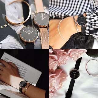 NEW 全新黑色啞光網眼錶帶 32mm優雅黑色錶盤 Daniel Wellington 手錶手鐲