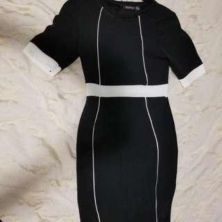 Boohoo black/white bodycon dress