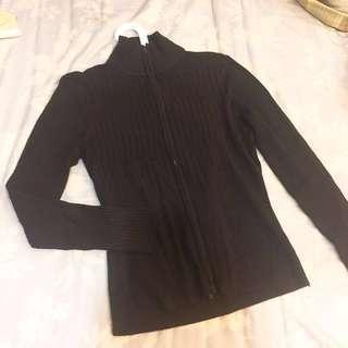 深咖啡針織彈性衫外套 #外套特賣