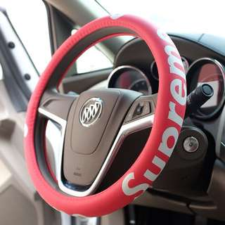 In tide brand personality supreme leather car steering wheel cover car handle set medium size 38cm
