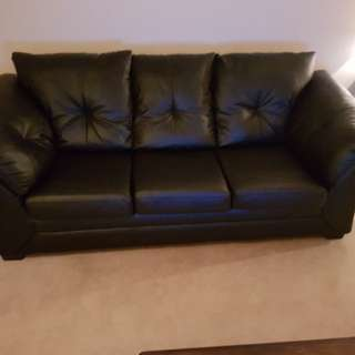 F  Black Leather Couch (like new)