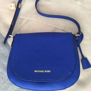 Michael Kors blue bag with gold hardware