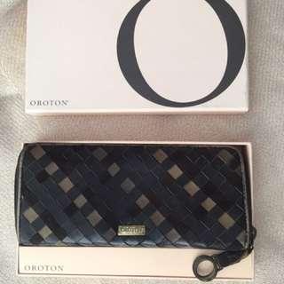 OROTON intrecciato woven long wallet in brown (Bonus: gift box)