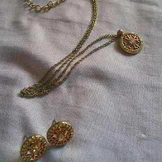Gold plated Earrings and Necklace