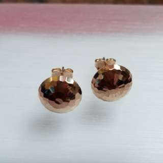 18K750 Rose Gold Button Earrings      🌷ItalyMade & New🌷18K750 玫瑰金耳環