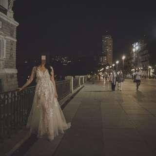 歐洲顯身材半透蕾絲塑腰禮服