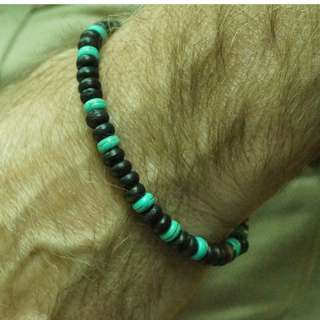 Turquoise and coconut wood shell stretch bracelet for men/women