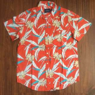 Topman Hawaiian / Floral Shirt Orange Size Medium