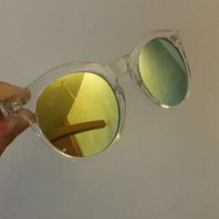 Golden Reflective Shades on Transparent Frame