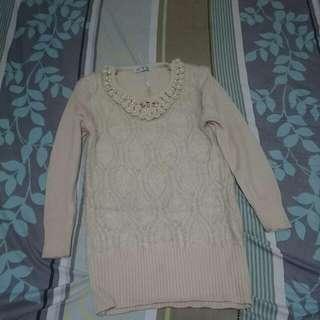 珍珠領長版溫暖毛衣