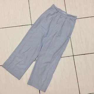 灰藍休閒九分寬褲