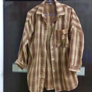 橘棕色格紋襯衫