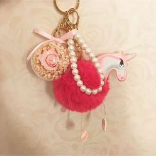 Preserved rose furry unicorn bag charm accessory keychain holder / gifts / presents / Christmas