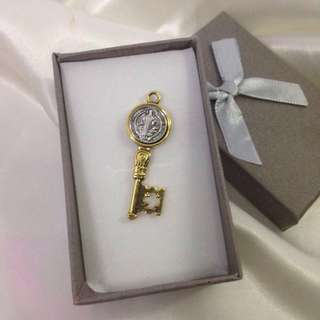 St. Benedict Medal Key Pendant Elegant Antique Finish in Gold and Silver Setting (two-toned) Medium