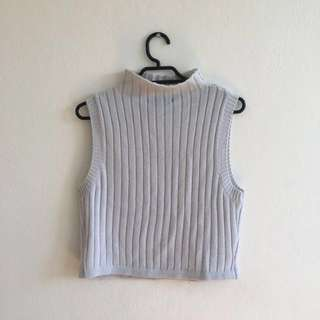 Off White Ribbed Cropped Top