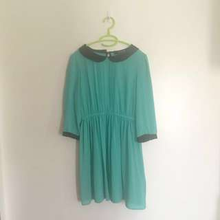 Forever 21 Teal and Black Babydoll Collar Dress